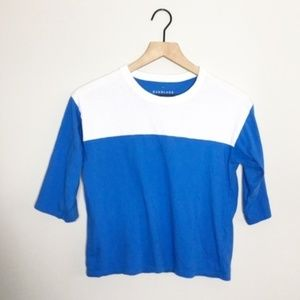 Everlane Blue / White Boxy Cropped Tee
